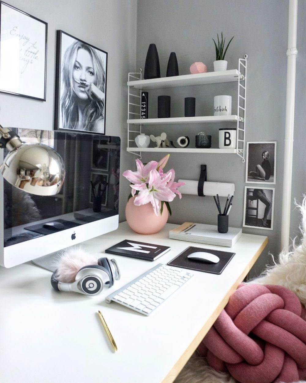 arbeitsplatz mit rosa vase von coecoo
